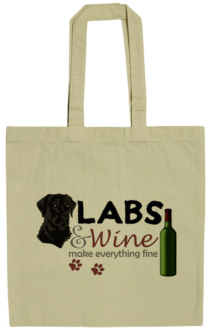 Black Labs and Wine Make Everything Fine 15 Inch Canvas Tote Bag