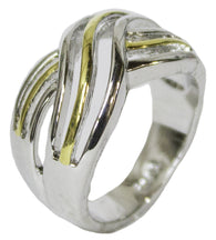 Women's Rhodium Plated Dress RingCriss Cross Two Tone 053
