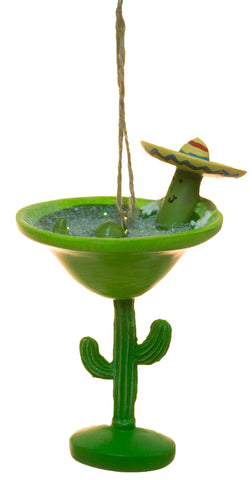 Funny Worm In Margarita On Cactus Christmas/ Everyday Ornament