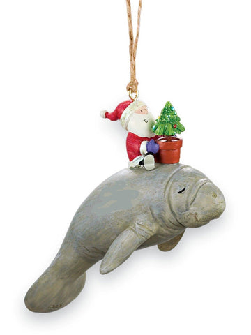 Santa Riding Manatee Nautical Christmas Ornament