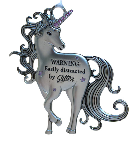 3 Inch Inspirational Zinc Unicorn Ornament - Warning: Distracted by Glitter