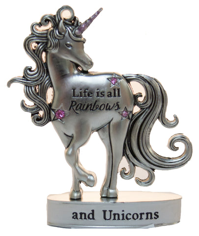 2 Inch Inspirational Unicorn Figurine With Sparkle Rhinestones-Life is all Rainbows