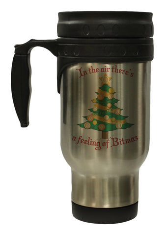 Bitcoin Christmas Tree Feeling Of Bitmas 12 Ounce Hot/ Cold Travel  Coffee Mug (Stainless)