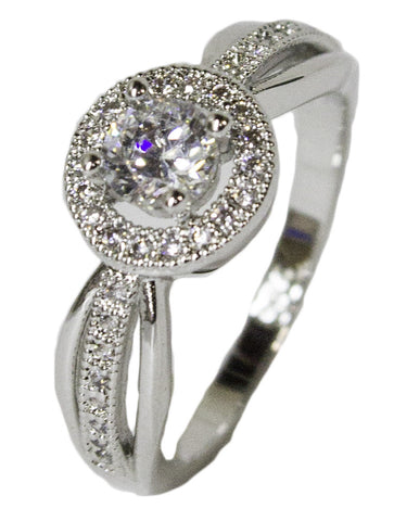 Women's Rhodium Plated Dress Ring Ornate Round Cut CZ 046