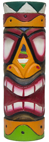 Hand Carved And Painted 12 Inch Wood Totem Pole (GreenWhite)