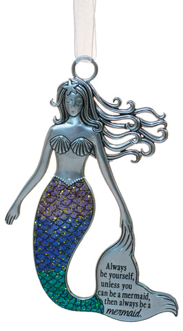 3.5 Inch Zinc Mermazing Mermaid Ornament- Always be a mermaid