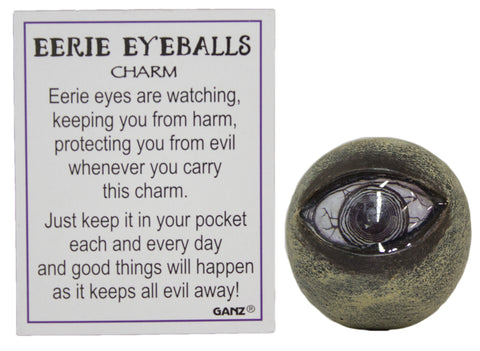 Halloween Keepsake - Eerie Eyeballs Collectible Pocket Stone with Story Card