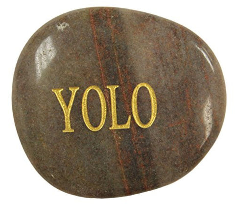 Inspirational Message Stones Engraved with Uplifting Words of Wisdom -YOLO