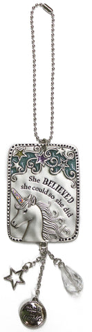 Inspirational Unicorn Zinc Car Charm Ornament (Believed She Could)