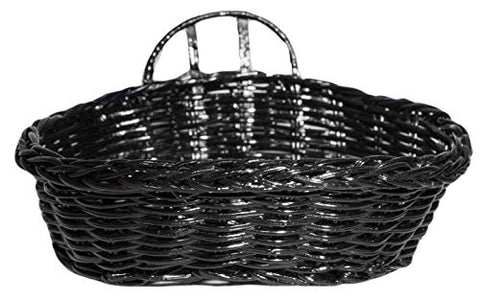 5.5 Inch Black Gloss Oblong Woven Display Basket with Card Holder