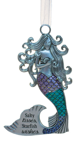 3.5 Inch Zinc Mermazing Mermaid Ornament- Salty kisses