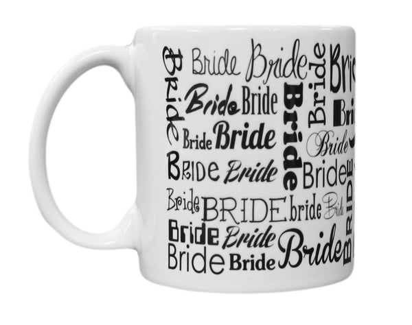 """Bride"" Wrap Around Bridal Design 11oz Coffee Mug"