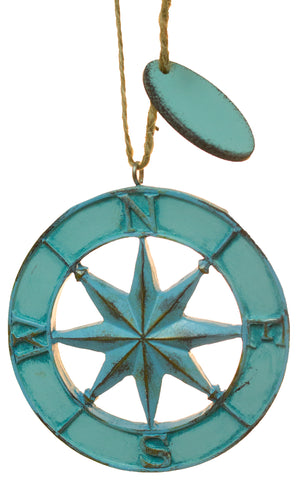 Compass Rose Faux Metal Christmas/ Everyday Ornament