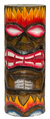 6 Inch Tall Hand Carved, Hand Painted Tiki Totem Pole  - Fire