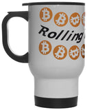 Rolling in the Coin Bitcoin Crypto Currency  12 oz Hot/ Cold Travel Mug