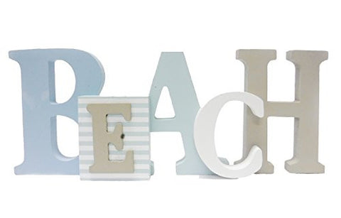 "1 X Beach Word Sign - Tropical Beach Decor - Great for Office - Table Top or Wall Hanging - 12.5"" Long 5"" Tall"