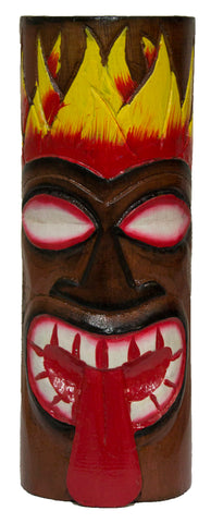 Hand Carved Hand Painted 10 Inch Large Tiki Totem Pole - Red Tongue
