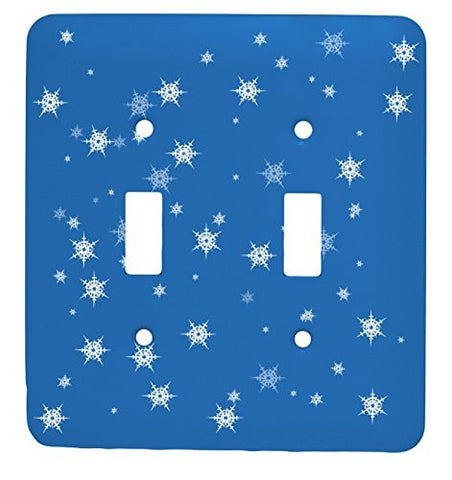 Snow Flake Christmas Single Toggle Holiday Metal Light Switch Cover (Blue)
