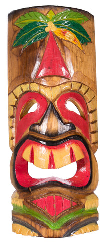Hand Carved and Painted 11-12 Inch Tall Tiki Mask Sculpture Wall or Desktop