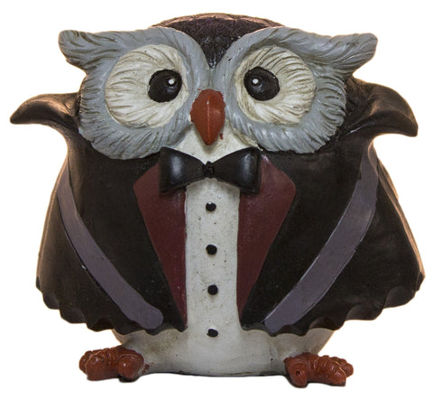 Halloween Dcor- 3 Inch Polyresin Owl Dressed As A Vampire