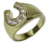 Men's 18 Kt Gold Plated Dress Ring Horseshoe CZ 073