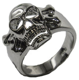 Men's Rhodium Plated Dress Ring Enameled Skull 032