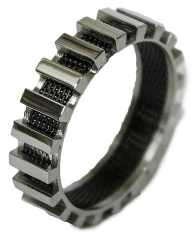 Men's Stainless Steel Dress Ring Steel and Mesh Band 083