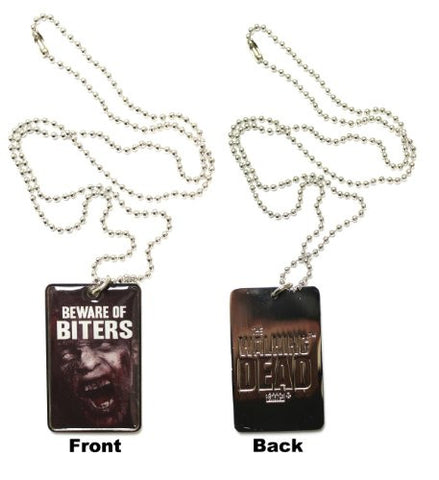 Walking Dead Enamel Photo Dog Tag Necklace - Beware of Biters