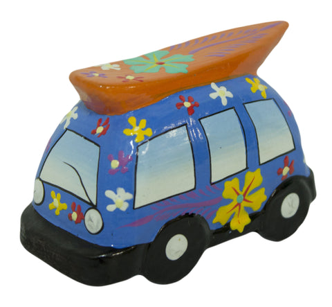Hand Painted Wooden Surfer Van Figurine