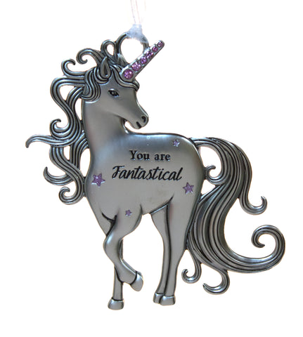 3 Inch Inspirational Zinc Unicorn Ornament - You are fantastical