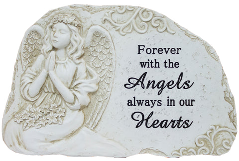 "11 Inch Wide Polystone Merorial Stone/ Plaque ""Forever with angels…"""