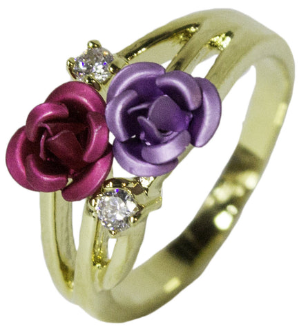Women's 18 Kt Gold Plated Dress Ring Enamel Rose and CZ 044