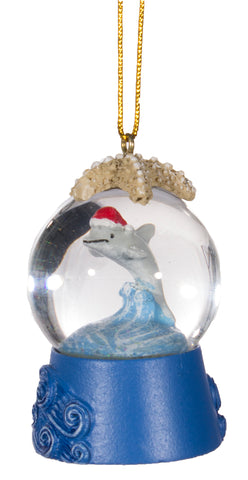 Christmas Ornament/ Snow Globe With Dolphin Inside - Hang or Set on Shelf