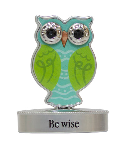 2 Inch Happy Little Owl Figurine W/ Colorful Enamel - Be Wise