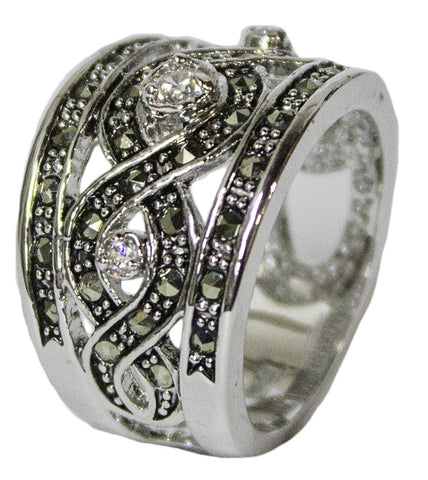 Women's Rhodium Plated Dress Ring Marcasite and CZ Band 50