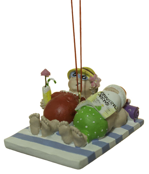 2.5 Inch Mr. and Mrs. Claus at the Beach Christmas Ornament
