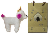 5 Inch White Princess Plush Dog With Doggie Bag