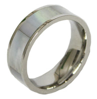 Women's Stainless Steel  Dress Ring Mother of Pearl Band 120