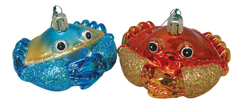 2 Blown Glass Crab Christmas Ornaments, Red and Blue