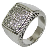 Men's Rhodium Plated Dress Ring Square CZ Cluster 072