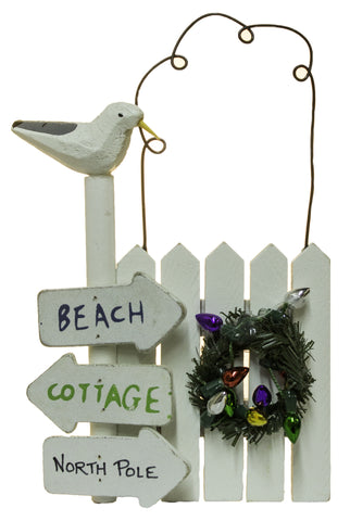 "5 Inch ""Beach, Cottage North Pole"" Fence Post Christmas Ornament"