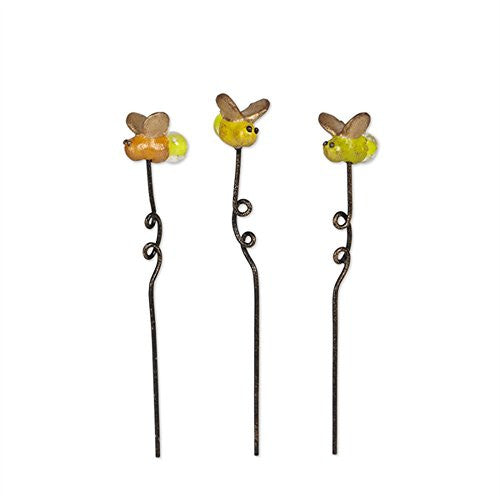 Collectible Fairy Garden Set of Three Glowing 1 Inch Mini Firefly Picks