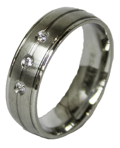 Men's Stainless Steel Dress Ring 3 Round Cut CZ Band 082