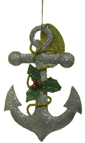 4.75 Inch Metal Christmas Sparkle Anchor Ornament