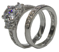Women's Rhodium Plated Dress Rings Engagement and Band Set CZ 007