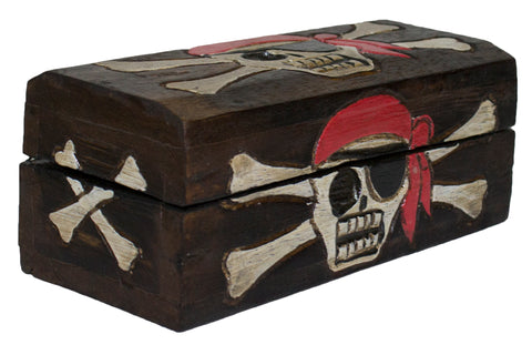Hand Made Wooden Small Pirate Booty Trinket Box (Rectangle)