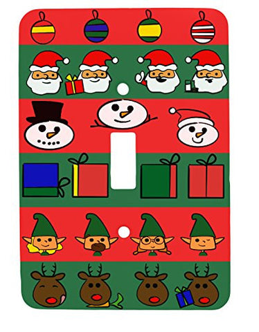 Doodle Christmas Single Toggle Holiday Metal Light Switch Cover