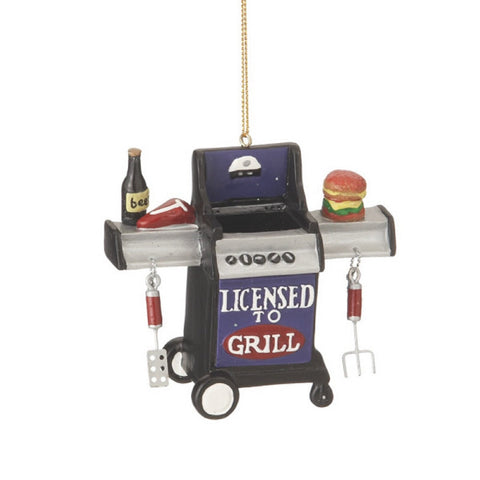 "Christmas Holiday ""Licensed to Grill"" Outdoor Grill Figurine Ornament"