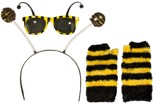 3 Piece Bumble Bee Costume Kit w/ Headband, Glasses & Gloves!