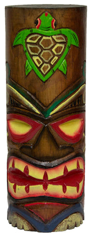 Hand Carved Hand Painted 10 Inch Large Tiki Totem Pole - Turtle